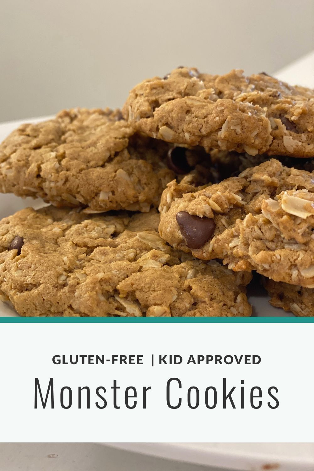 I like to use this recipe as a base and play with the mix-ins, nuts, granola, seeds, dried fruit, chocolates or candies. There are so many combinations to have fun with! Plain, chocolate chip or the whole pantry, whatever you choose, these cookies will cure your sweet tooth.#glutenfree #glutenfreecookies #glutenfreebaking #glutenfreeoatmealcookies  #monstercookies #glutenfreecookies #glutenfreecookierecipe #glutenfreechocolatechipcookies #peanutbuttercookie #peanutbuttercookierecipe