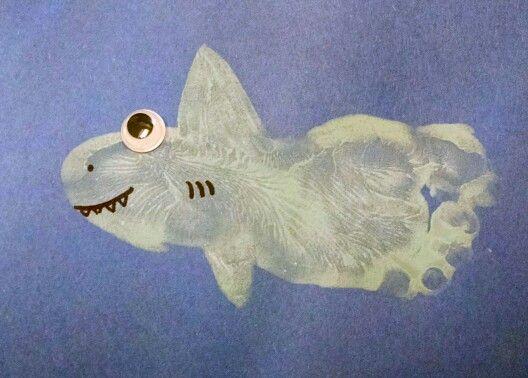 Footprint Shark Handprint Footprint Crafts Toddler Crafts