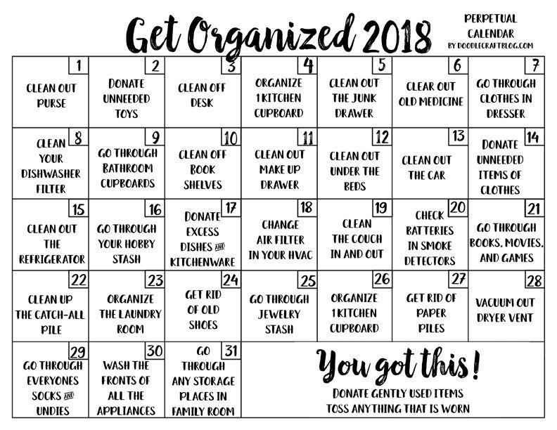 Get Organized Perpetual Calendar Checklist Free Printable
