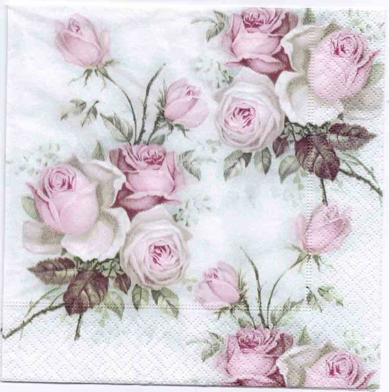 4 Decoupage Napkins | Cocktail Pastel Rose Bouquet | Rose Napkins | Floral Napkins | Napkin Decoupage | Cocktail Paper Napkins for Decoupage #papernapkins