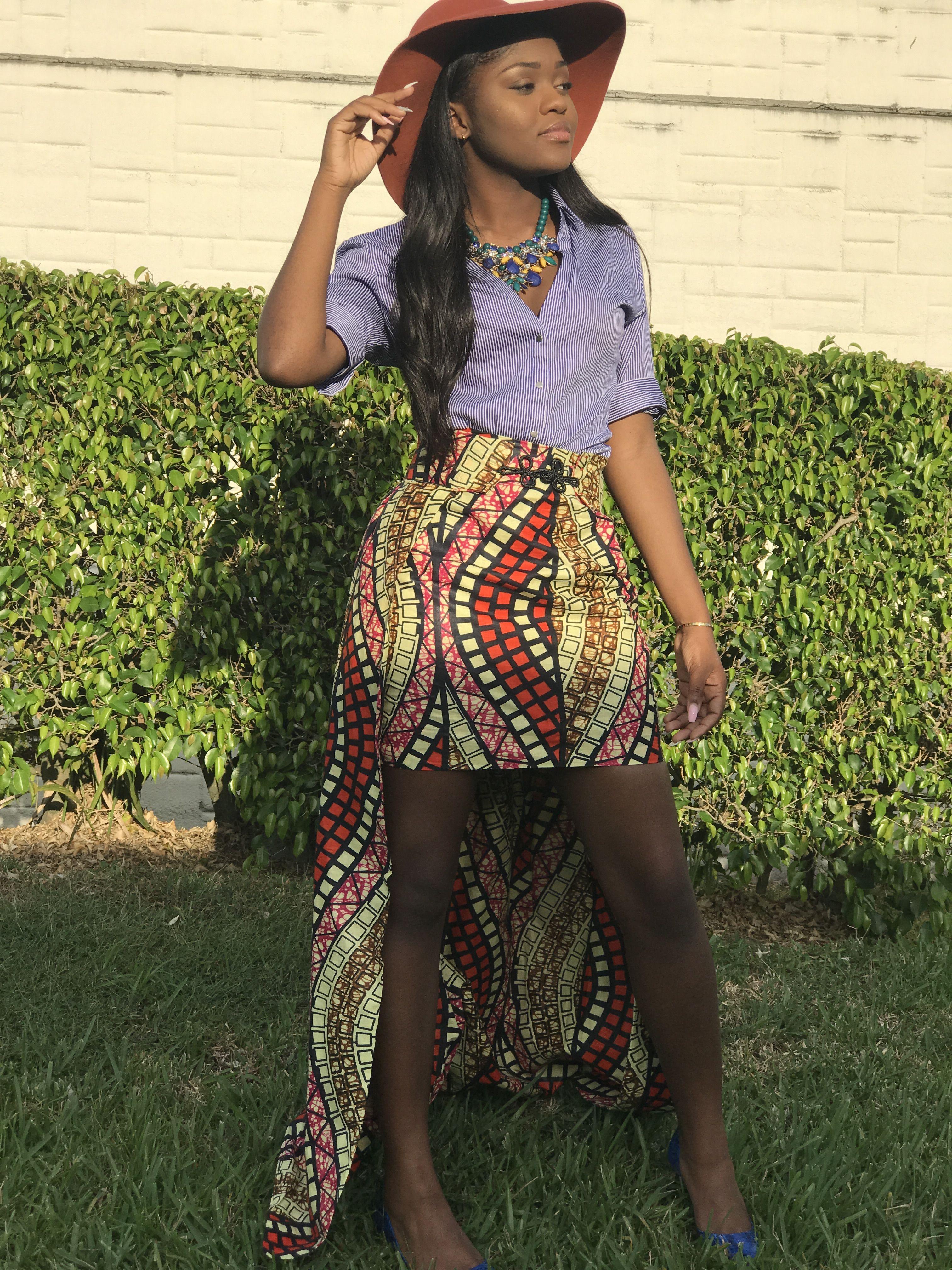 Ankara mini skirt with detachable train fashion skirt