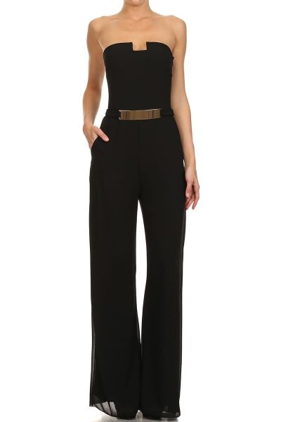 785046fe674 How would you style the Jumpsuit   Black Strapless Full Length Jumpsuit.