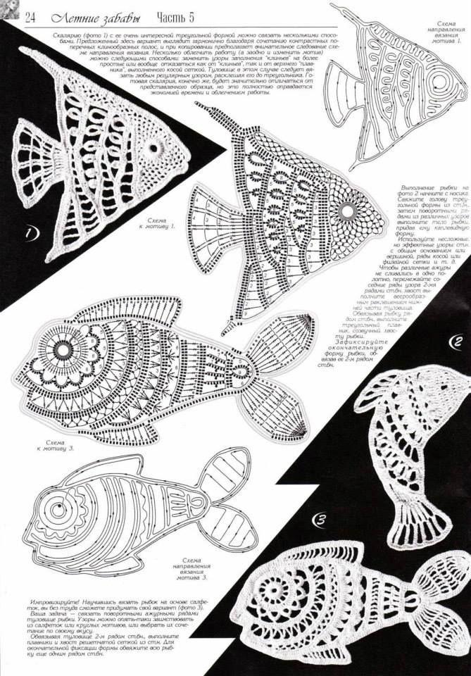 Aplique de Crochê em Peixes - / Apply in Crocheting to ,Fishes ...