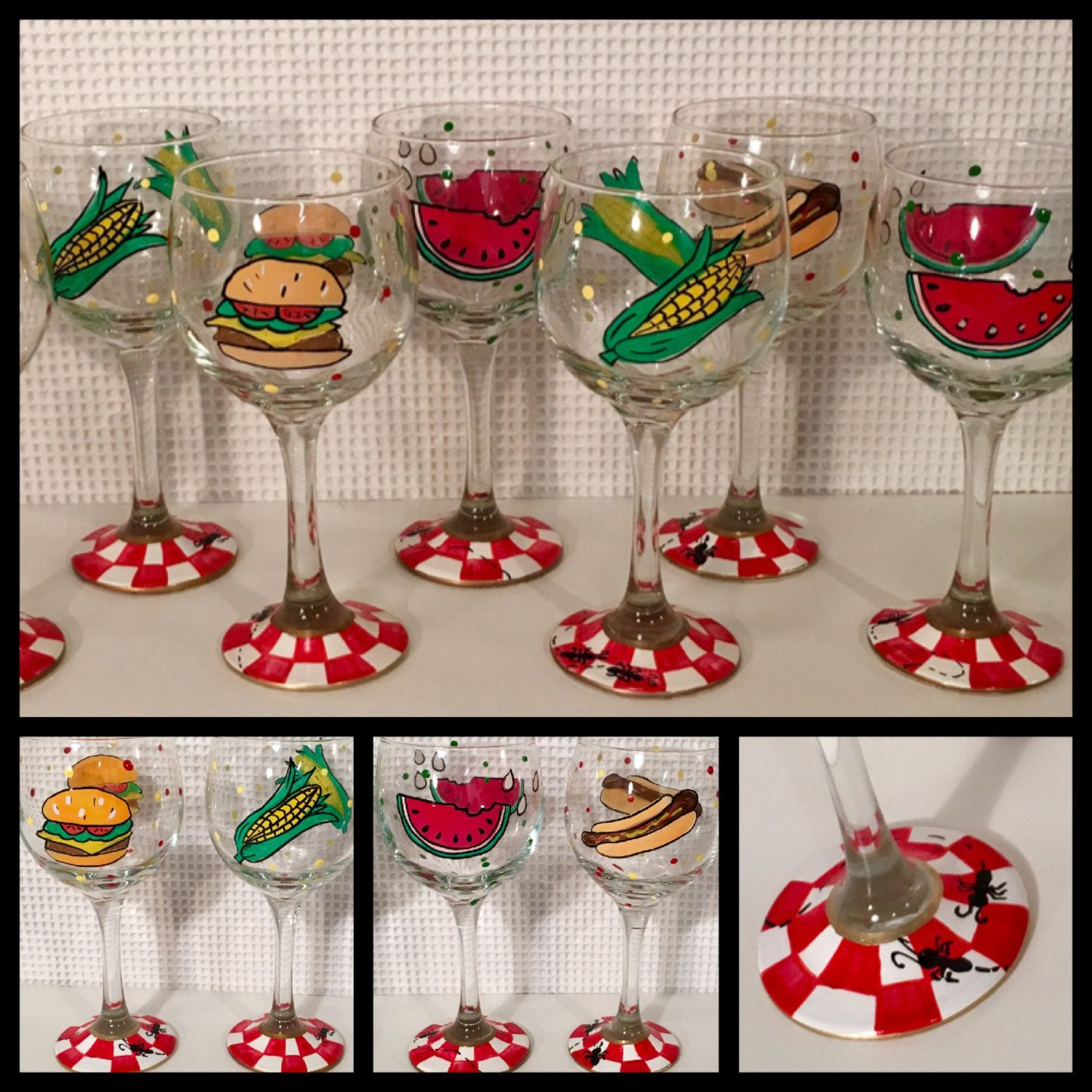 Painted Wine Glasses Set Of 4 Barbecue Picnic Wine Glass Etsy Custom Painted Wine Glass Wine Glass Painted Wine Glasses