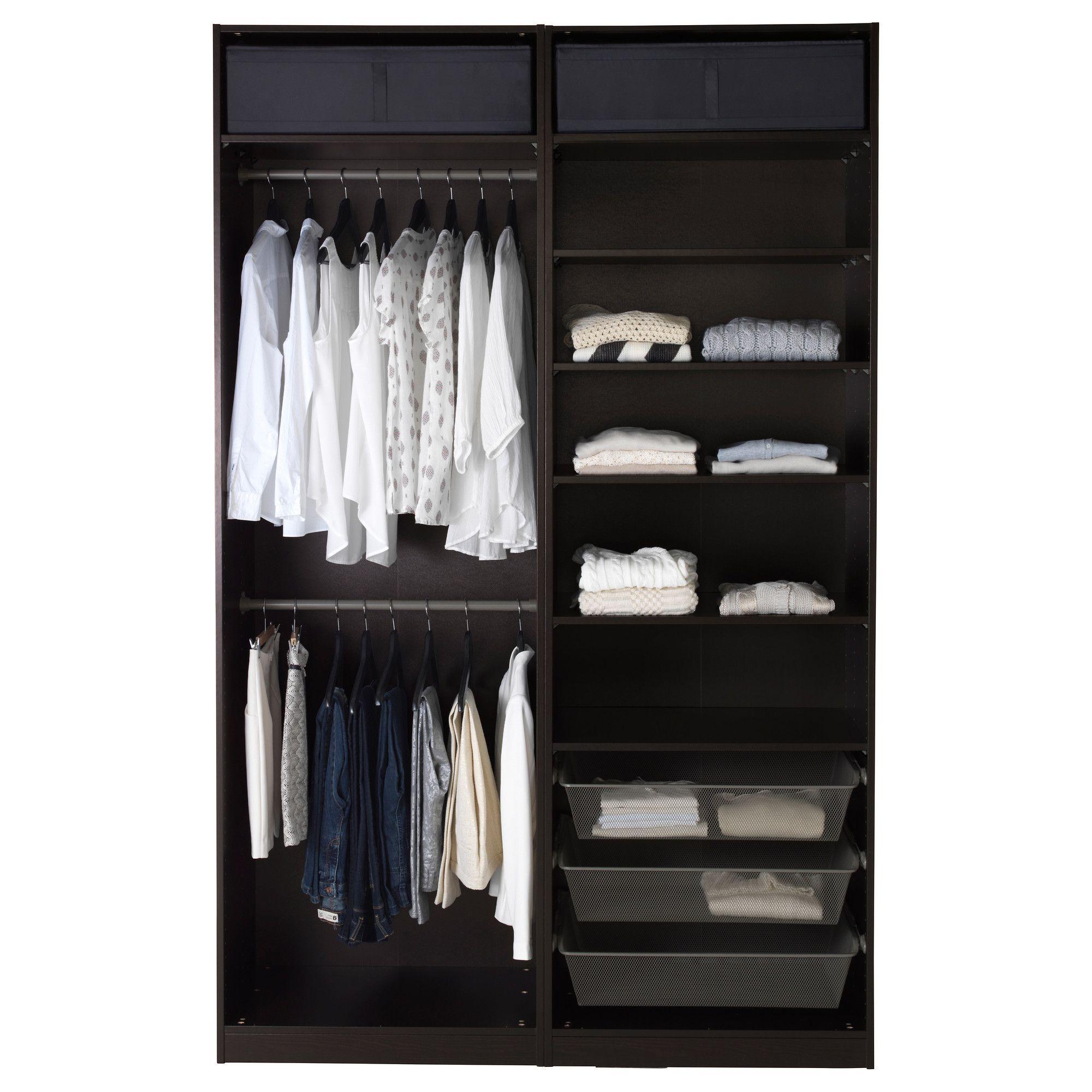 Pax wardrobe black brown hasvik high gloss white - Armarios oficina ikea ...