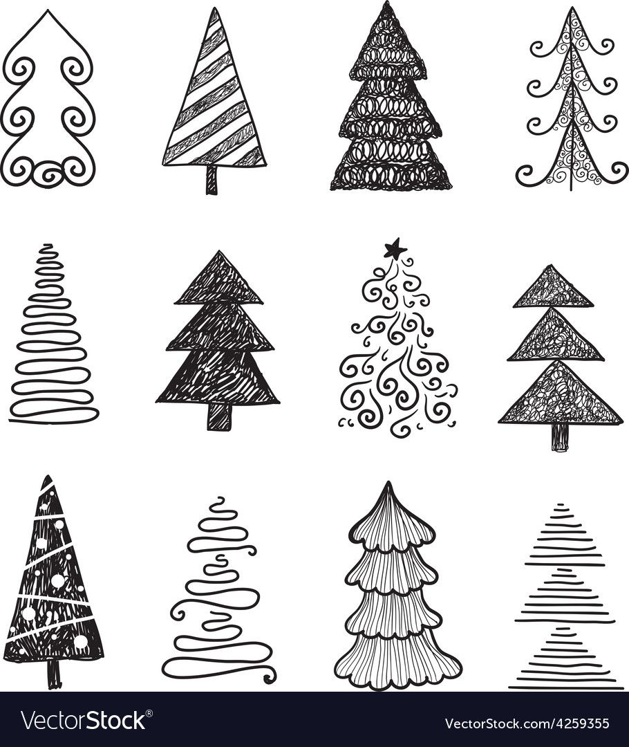 Set Of Doodle Hand Drawn Christmas Trees Vector Image On Vectorstock Doodle Art Posters Tree Doodle Christmas Tree Drawing