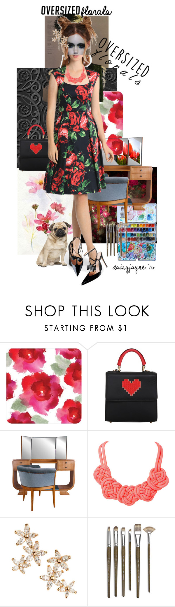"""floral in red & black"" by daizyjayne ❤ liked on Polyvore featuring Rene, Les Petits Joueurs, Humble Chic, Bonheur, Monza, contestentry, leonaedmiston and oversizedflorals"