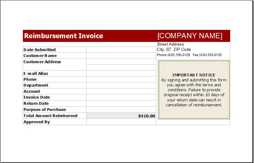 reimbursement invoice template download excel invoice templates