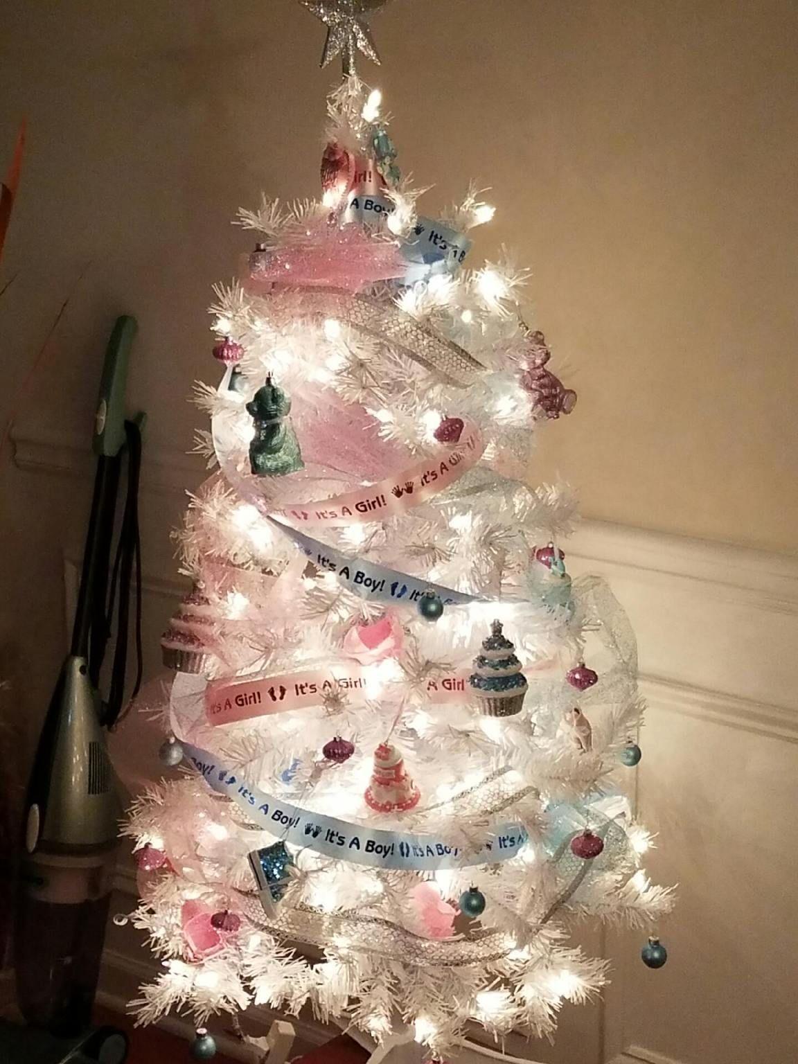 Diy Gender Reveal Christmas Tree Created By Yours Truly Christmas Gender Reveal Baby Gender Reveal Party Christmas Tree Gender Reveal