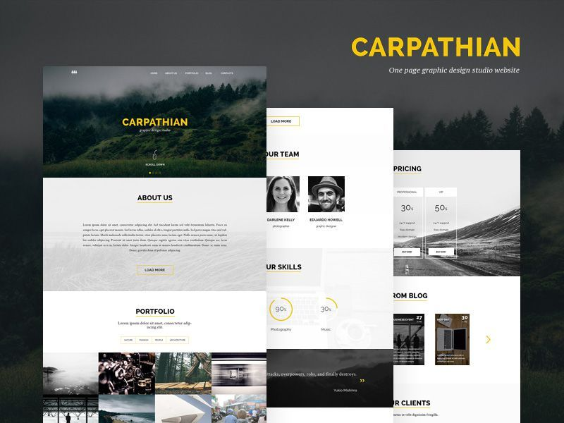 carpathian bootstrap template free psd with images