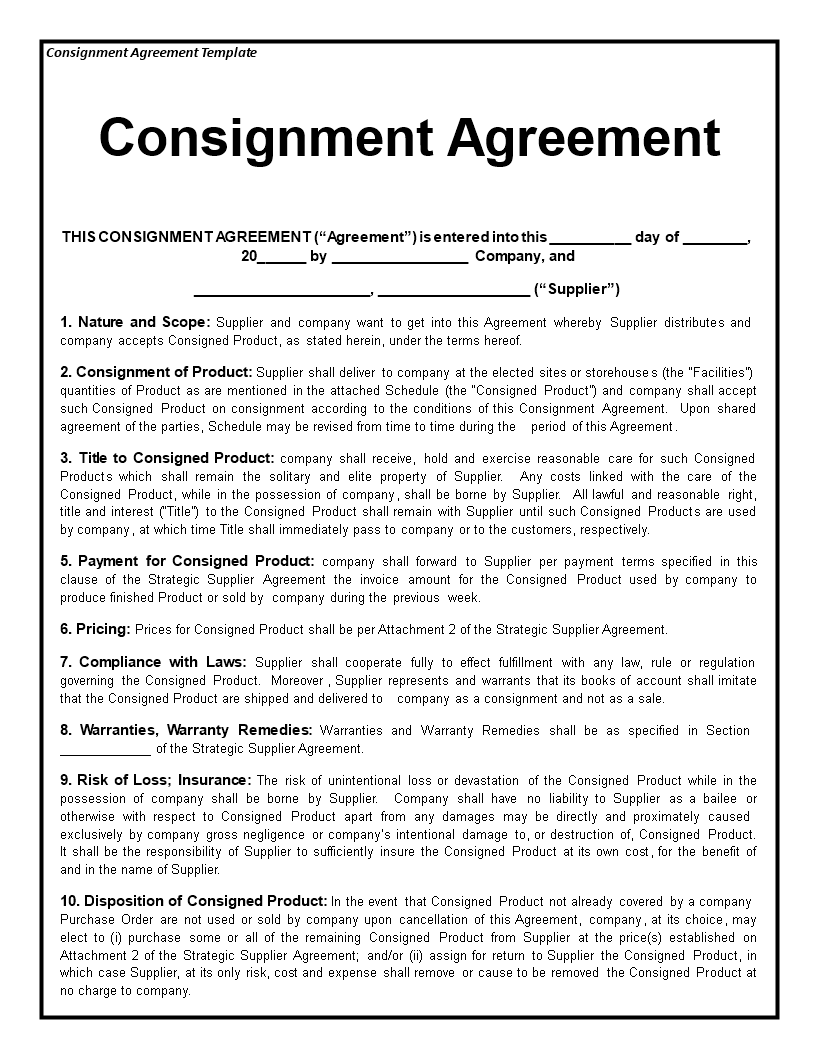 Consignment Agreement How To Draft A Consignment Agreement Download This Consignment Agreement Template Th Franchise Agreement Contract Template Consignment