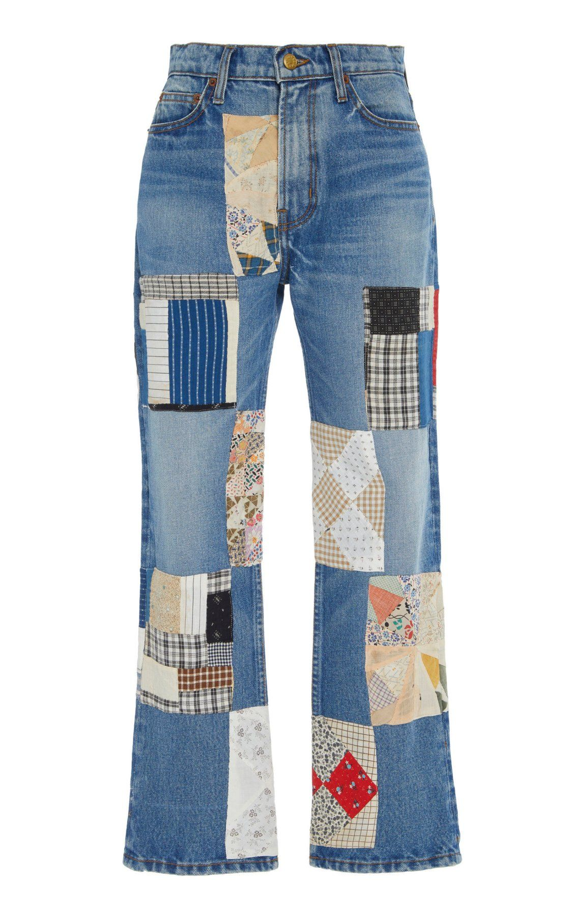 Arts Mid Rise Straight Leg Checkered Patchwork Jeans By B Sides Ss19 Denim Ideas Straight Leg Jeans Upcycled Fashion