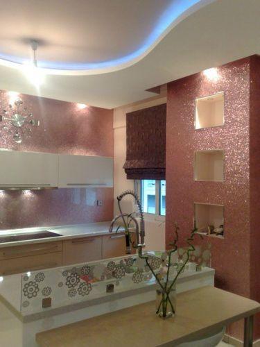 40 awesome kitchen backsplash ideas glitter wallpaper for Silver kitchen wallpaper