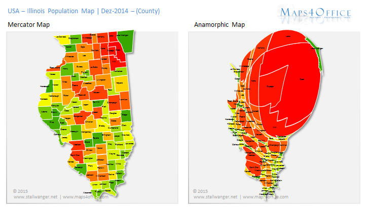 USA Illinois Map Population County Heatmap Anamorph Us State Of - Us population distribution map by state
