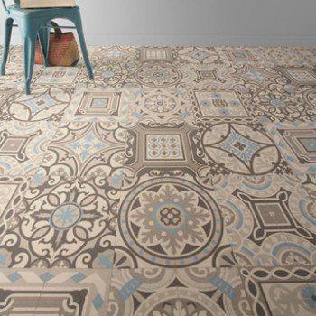 Sol Pvc Shalimar Blue Artens Textile L 4 M Vinyle Carreaux De Ciment Tapis Carreaux De Ciment Et Sol Vinyle