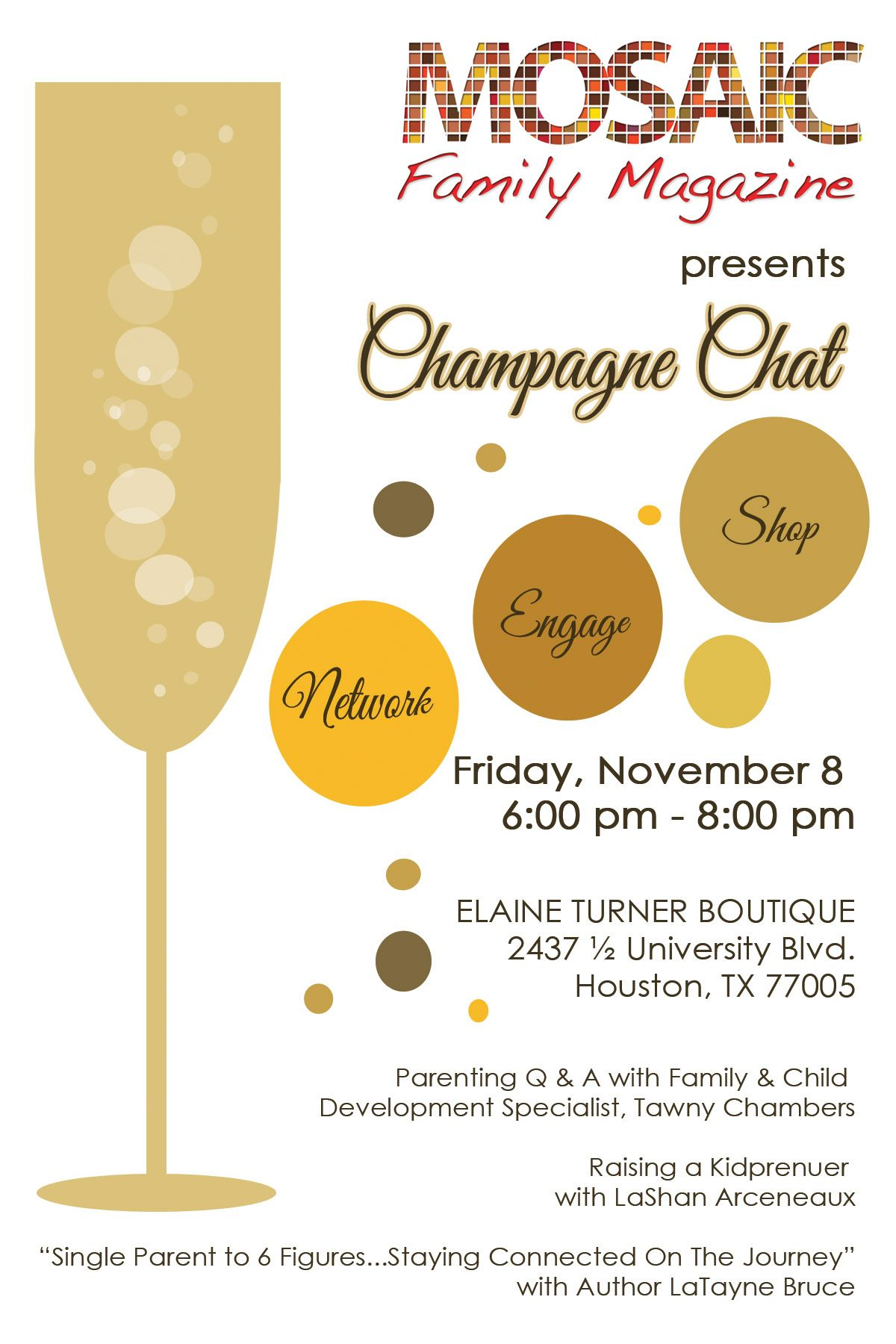 Champagne Themed Invitation For Networking Event