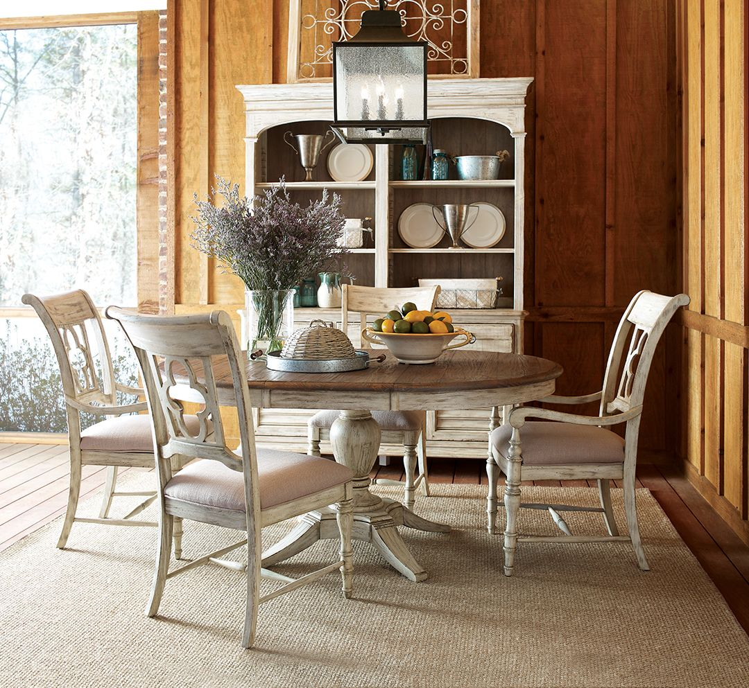 Kincaid Furniture Dining Room Weatherford Round Table And Four Chairs Weatherround Round Dining Room Sets Round Dining Room Dining Room Table