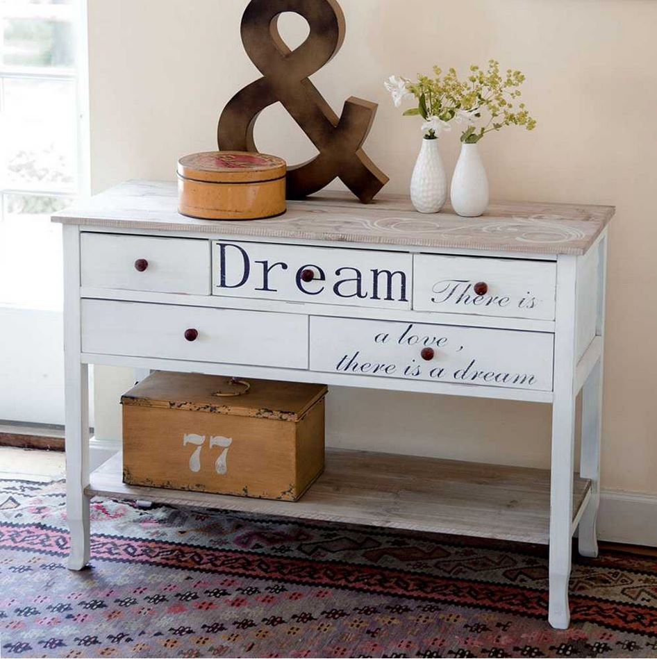 wundersch ner konsolen tisch in wei im shabby chic look mit schrift dream there is a love. Black Bedroom Furniture Sets. Home Design Ideas