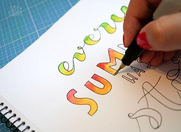 Handlettering Mit Fineliner Und Wasserfarbe Malen Handlettering