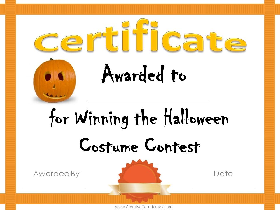 Halloween Award Certificates Halloween Costume Awards Free Halloween Costumes Halloween Costume Winners