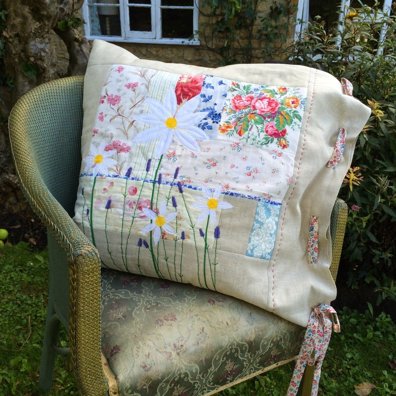 """Beautiful patchwork and appliqued cushion @ Hen House - pattern is from Jo  Colwill's book """"Cushions and Quilts"""""""