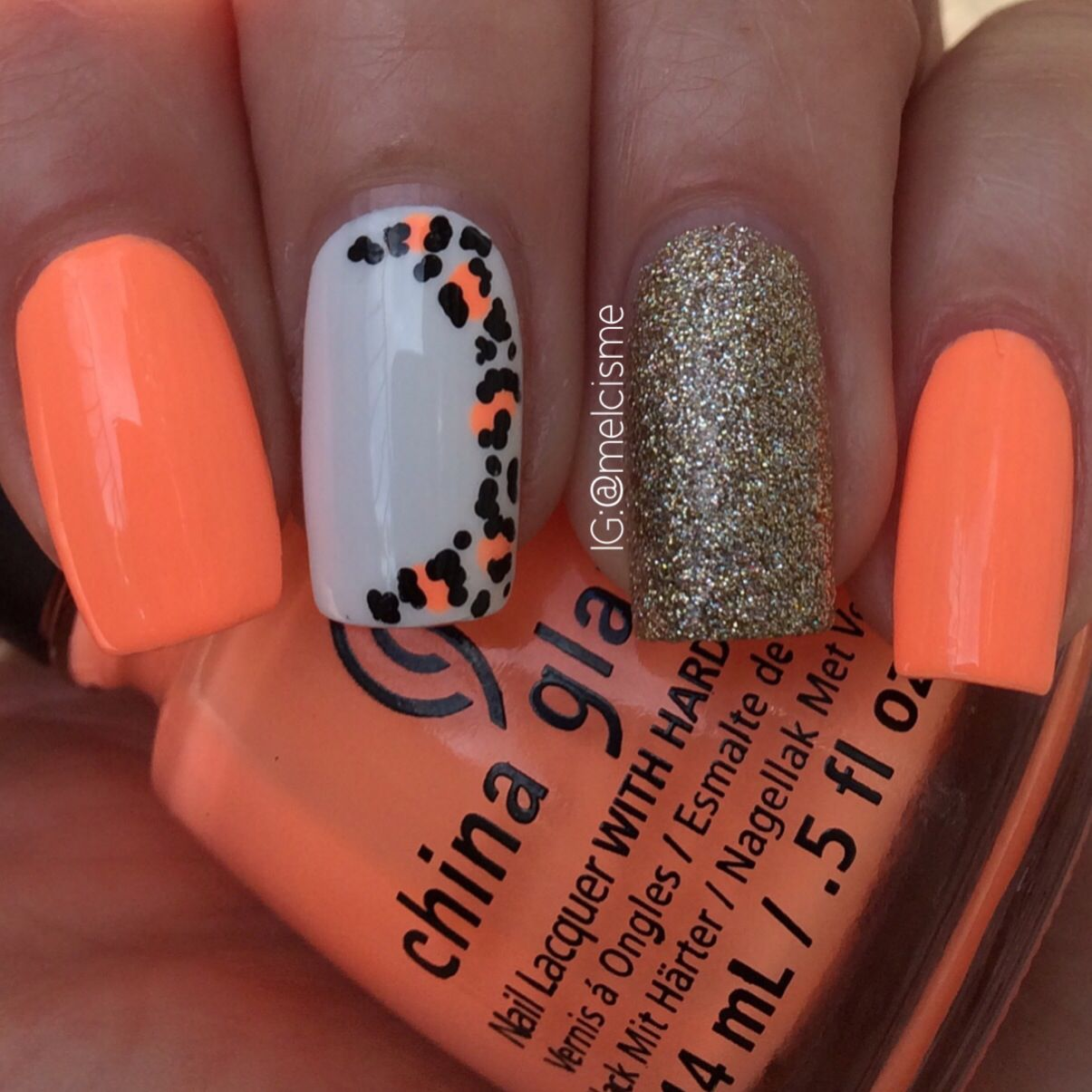Neon peach leopard print nails | Well Manicured Nails | Pinterest ...