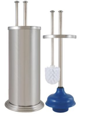 Plunger And Toilet Brush Combo Essential Home Combination In Canister Brushed
