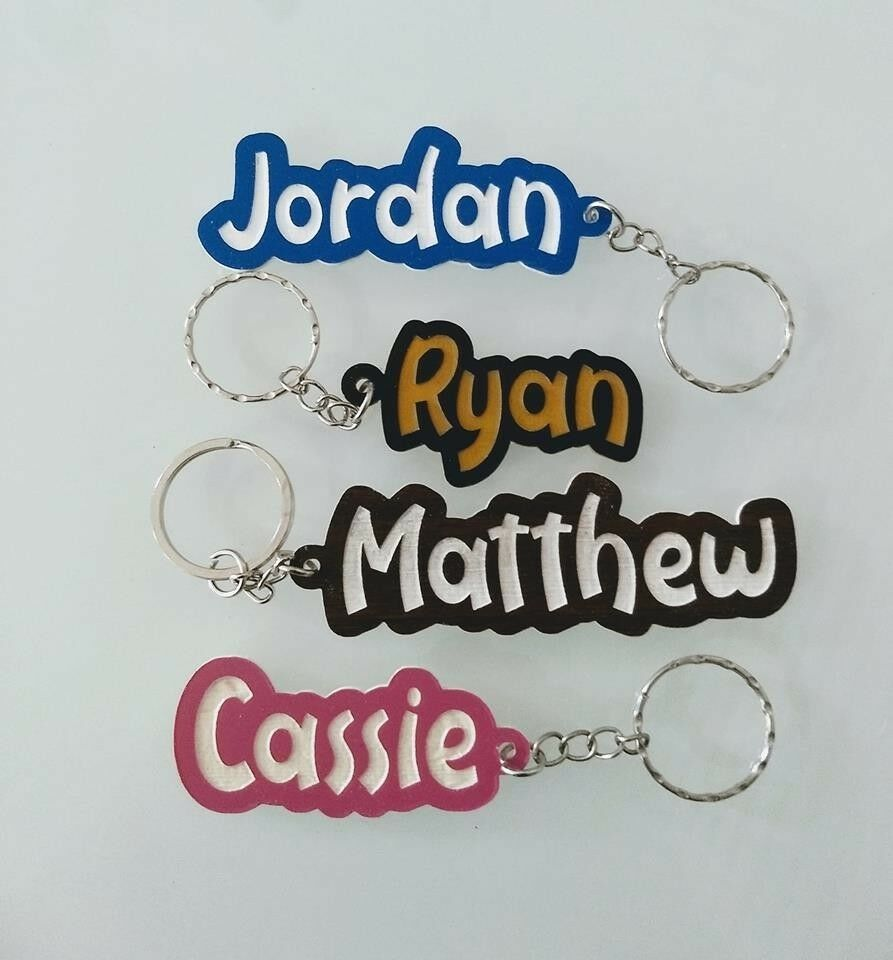 Personalised KEYRING KEYCHAIN ANY NAME ANY WORD CHRISTMAS GIFT SCHOOL BAG WORD