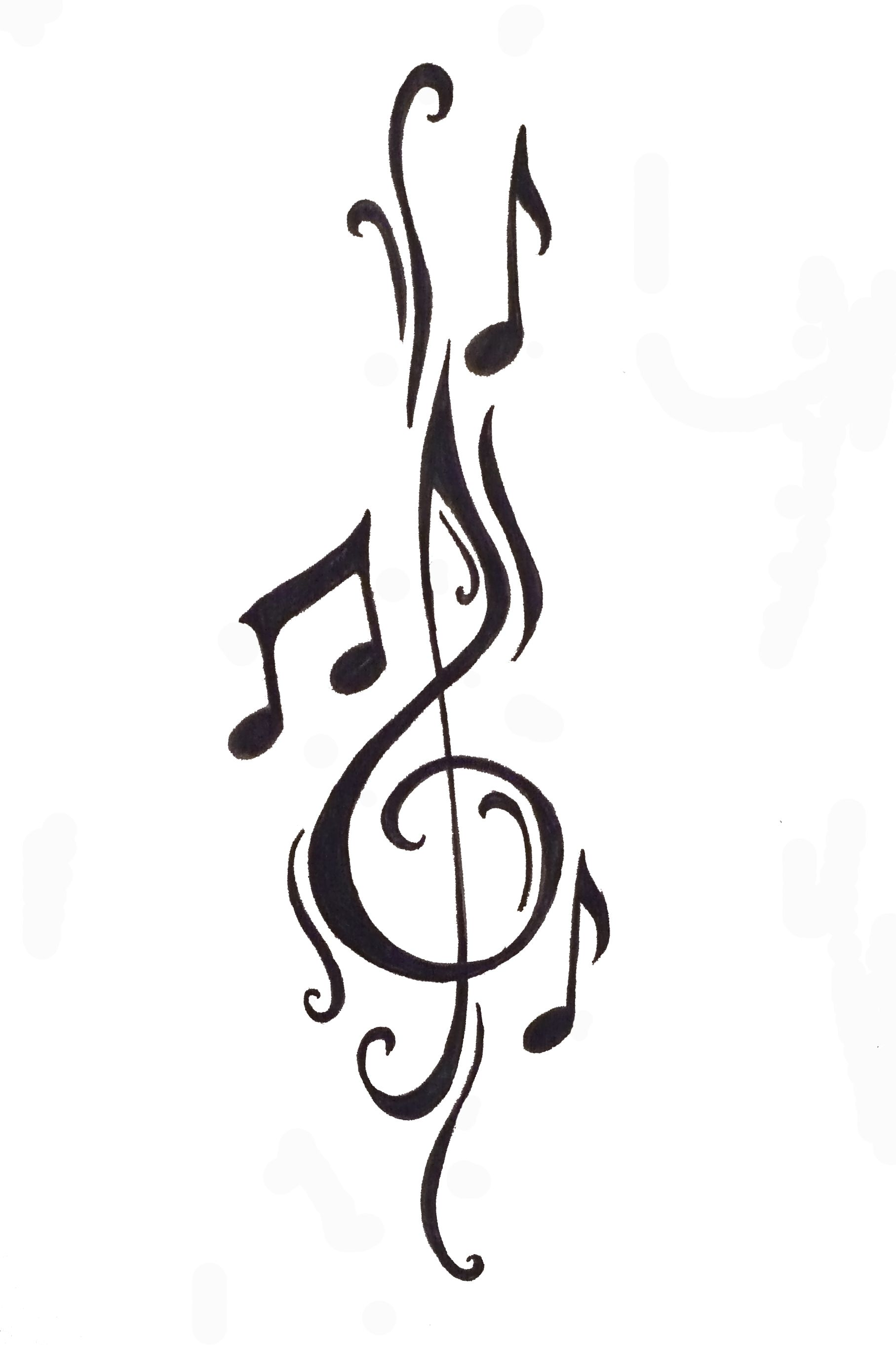 Want something of this nature behind my ear wmore curly cues cleft note with music notes free designs music notes tattoo wallpaper zimg winged biocorpaavc Image collections