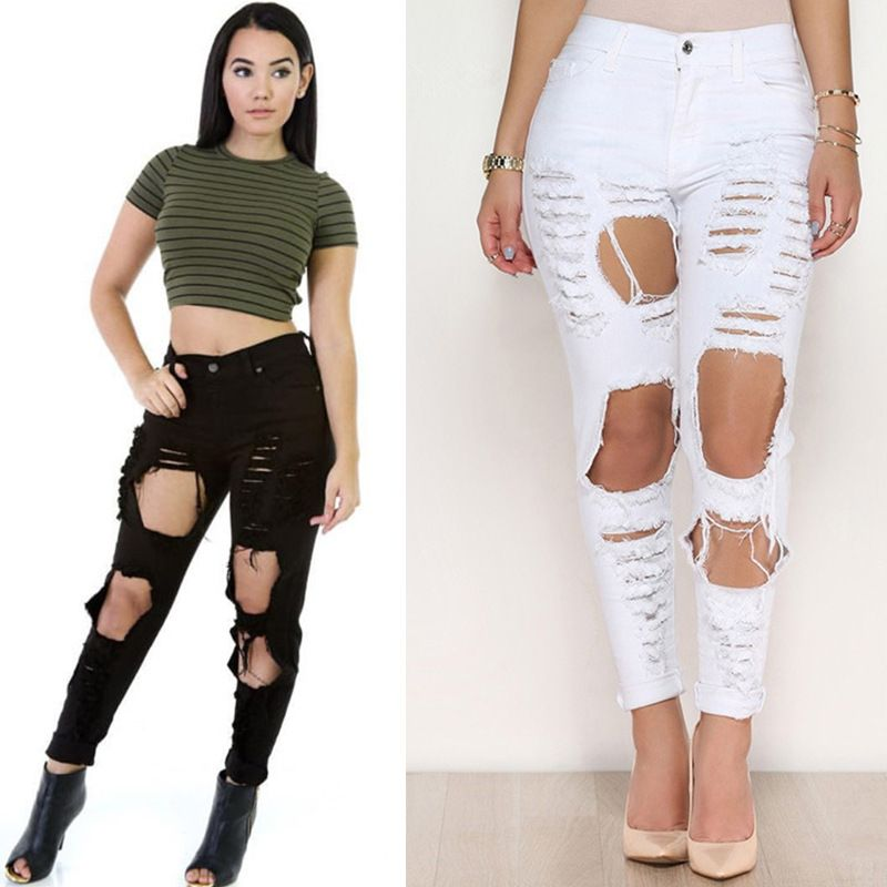 7a431d2561c 2016 Sexy big holes ripped jeans tassels skinny high waisted pencil pants  women trousers black white plus size womans feminino -