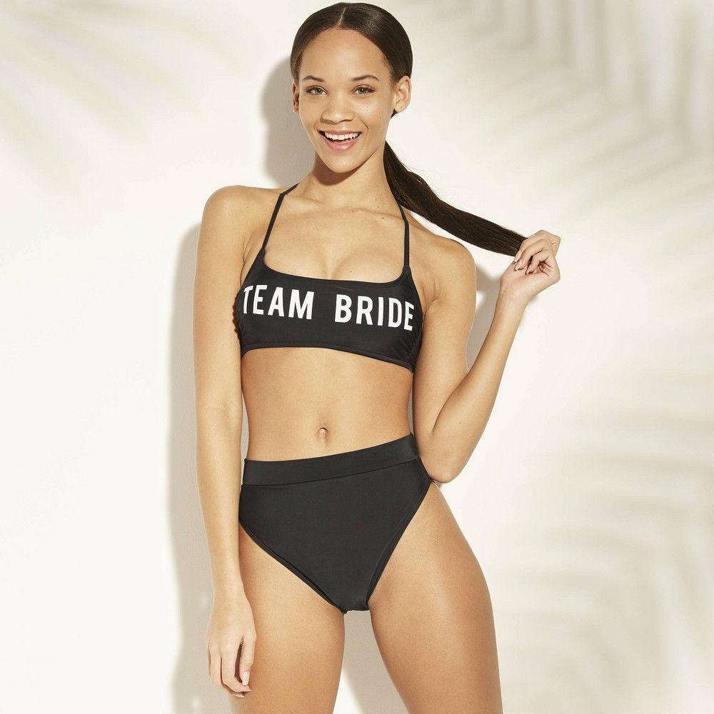 Women S Team Bride Bralette Bikini Top Xhilaration Black S Size