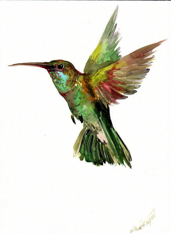 Green Flying Hummingbird Original Watercolor Painting 12 X 9 In