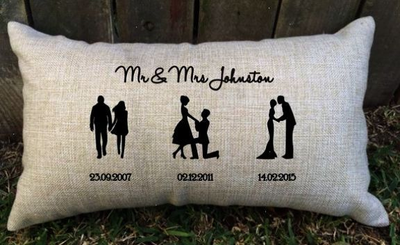 Perfect Wedding Gift For Best Friend: SILHOUETTE SPECIAL DAYS Couple Pillow Perfect For Bridal