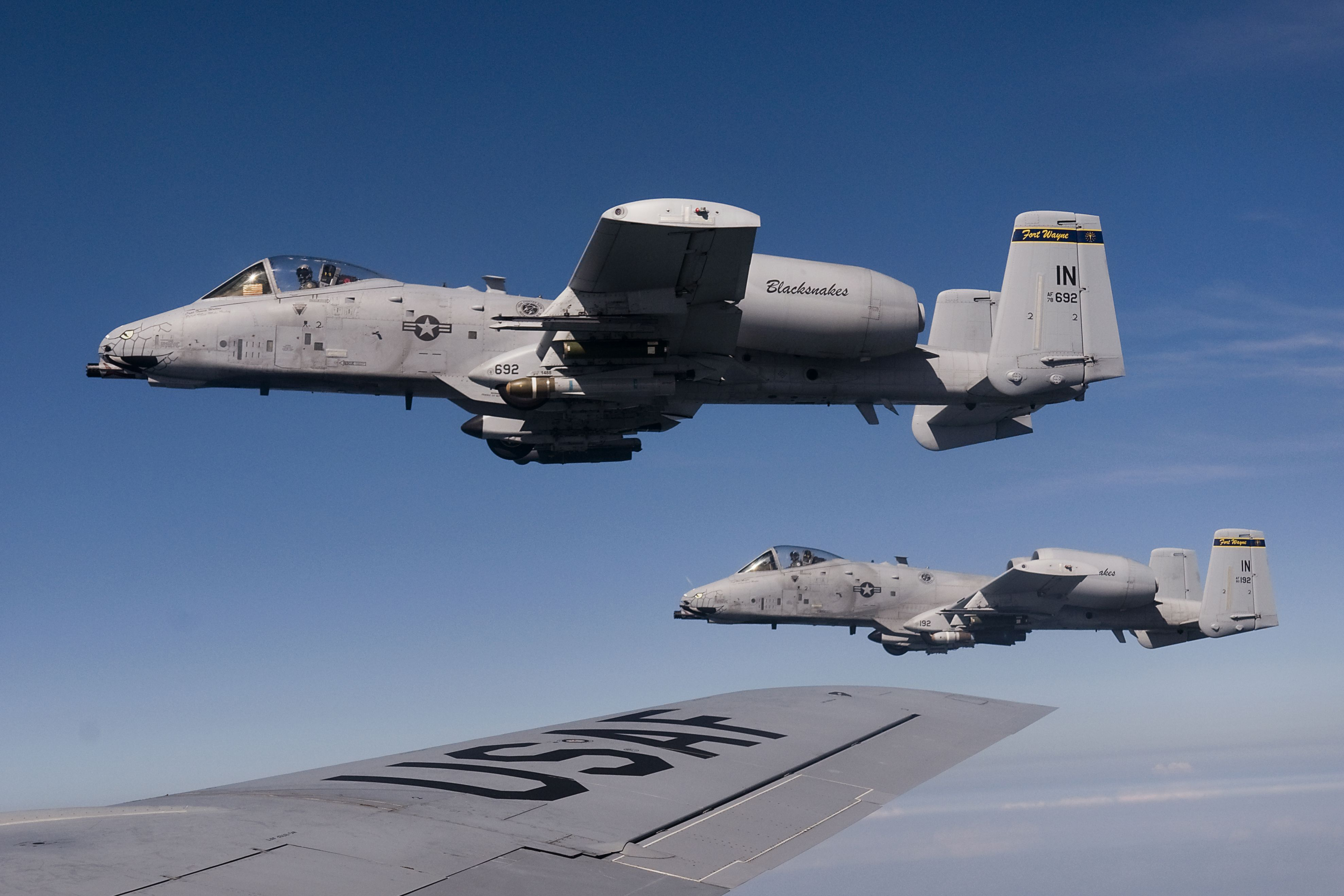 Two A10 Thunderbolt IIs from Air National Guard's 122nd