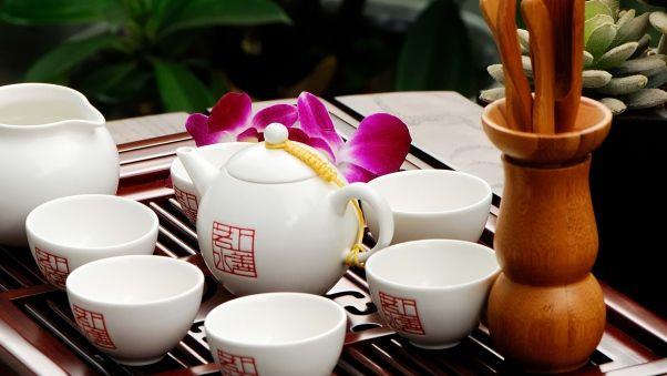 Wallpaper tea, cups, china, characters