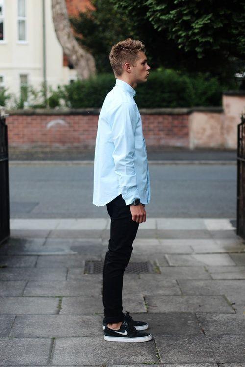 oversized x skinny blue shirt buttoned up black skinny jeans denim sneakers  nike fashion men