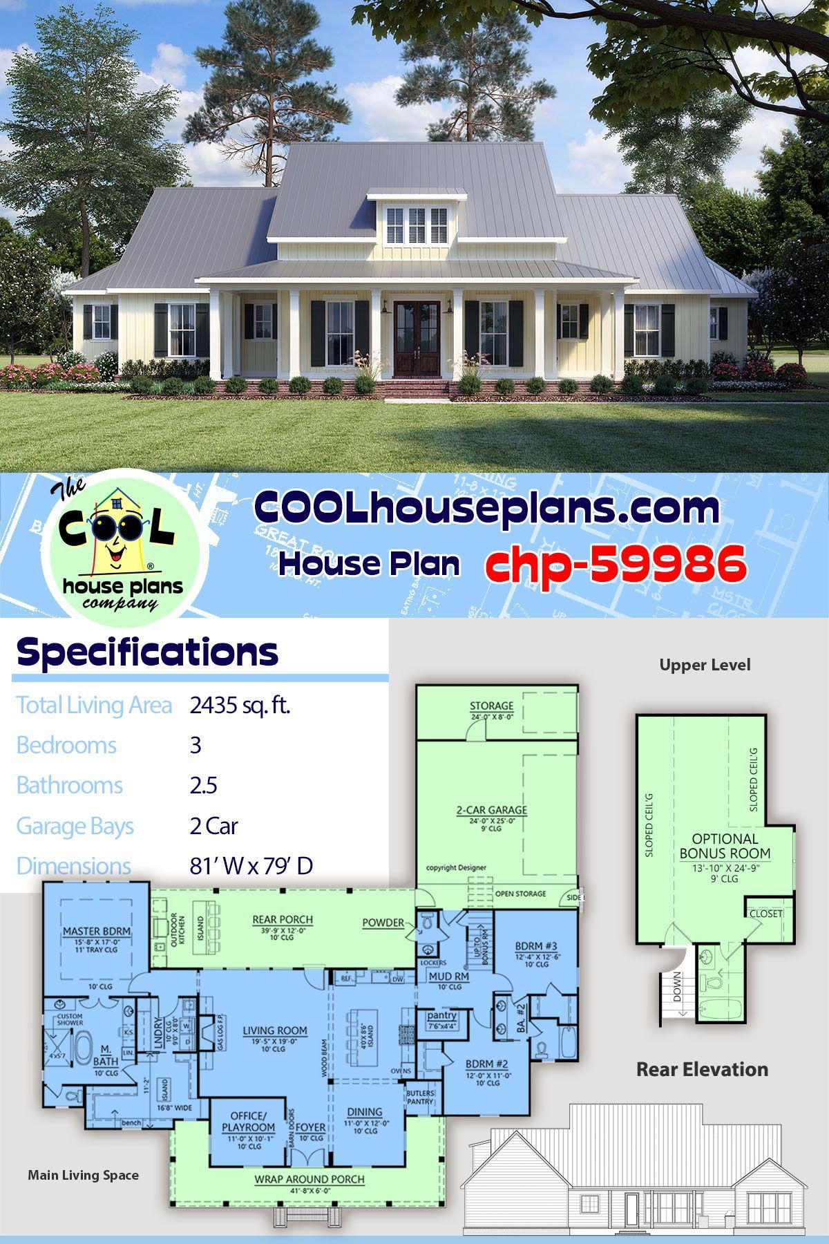 New Beautiful Modern Farmhouse Plan Chp 59986 At Cool House Plans With Amazing Floor Plans In 2020 Farmhouse Plans Best House Plans House Plans