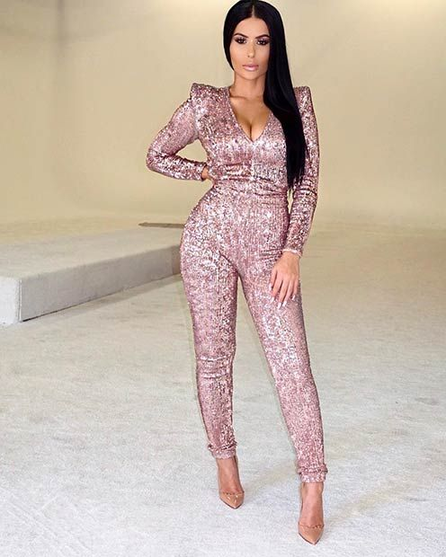 a49730a0d0 Pink Sequin Jumpsuit Outfit New Year s Eve