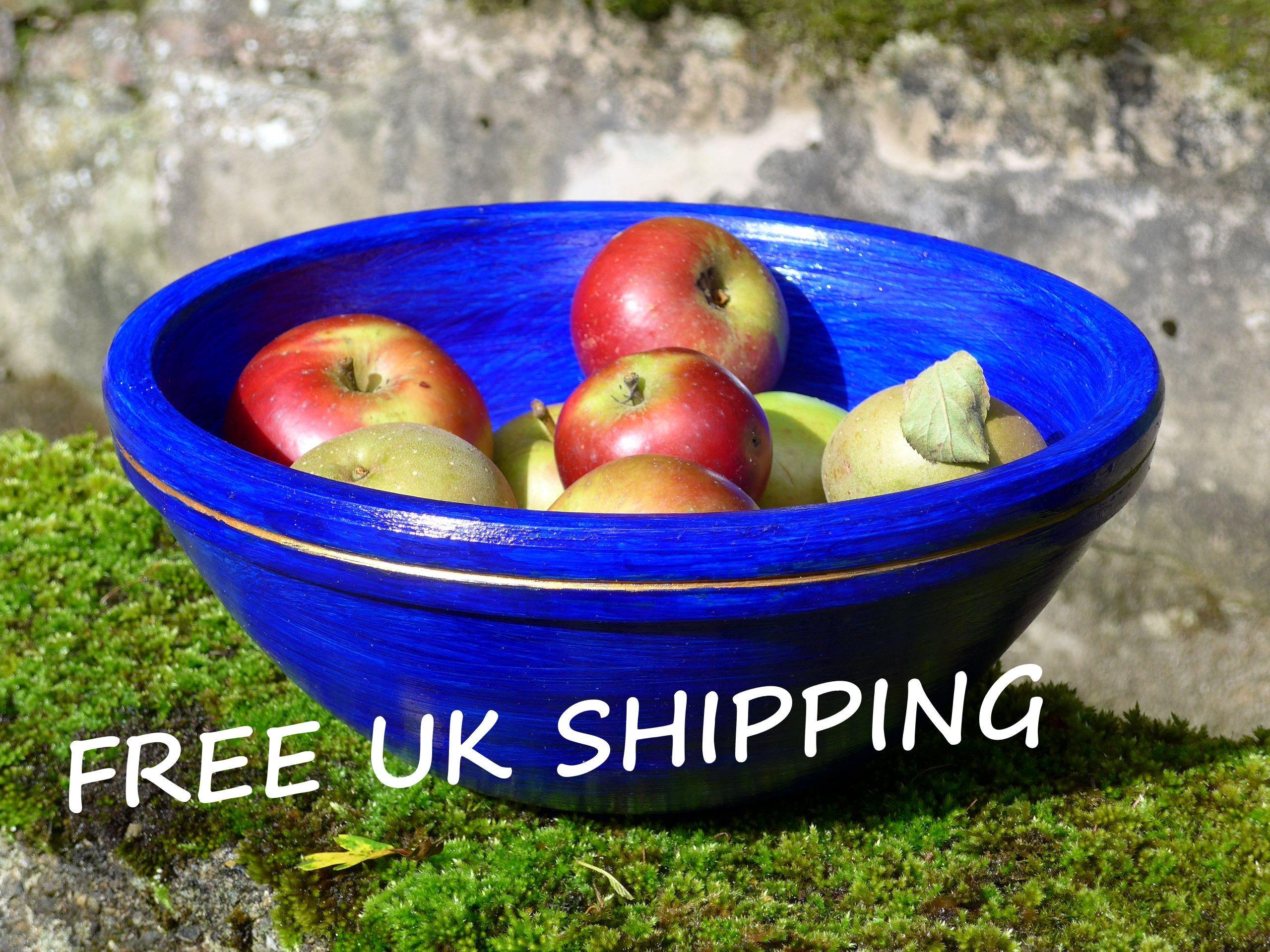 Painted wooden fruit bowl, fruit bowl, wooden bowl, large bowl ...