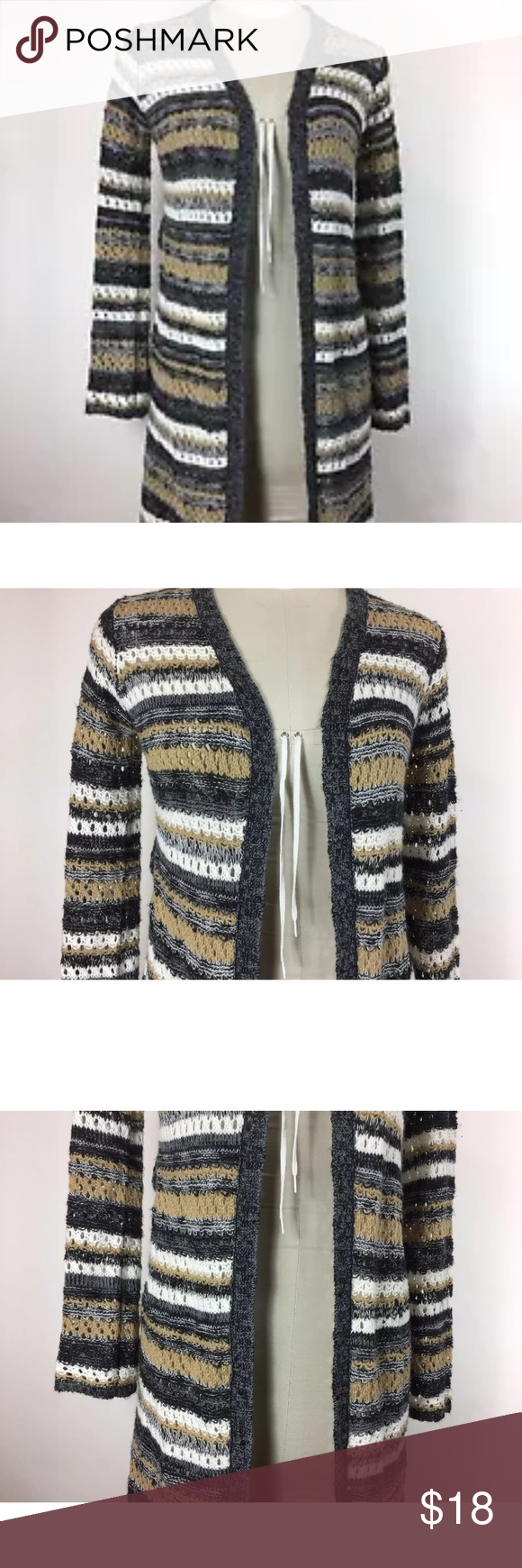 Lovemarks Brown Black Striped Sweater Cardigan | Open cardigan ...