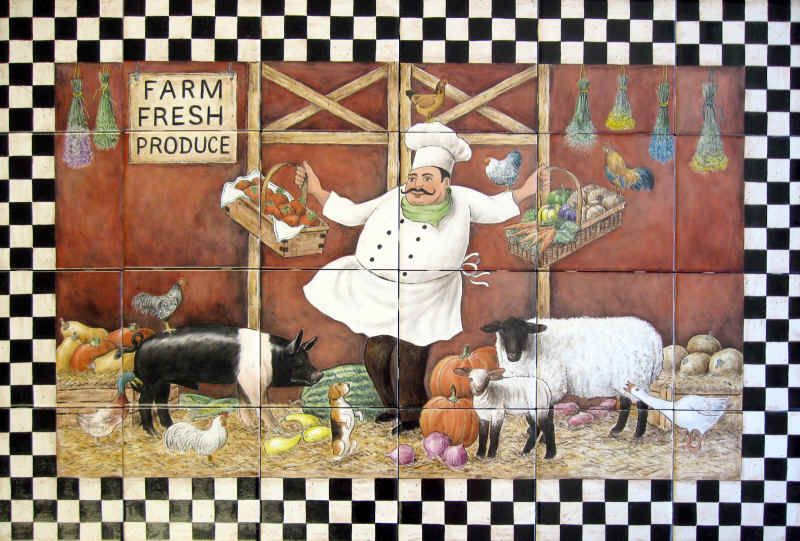 "Decorative Tiles Australia Deb's Chef Farm"" Whimsical Depiction Of Deb's Farm Scene In"