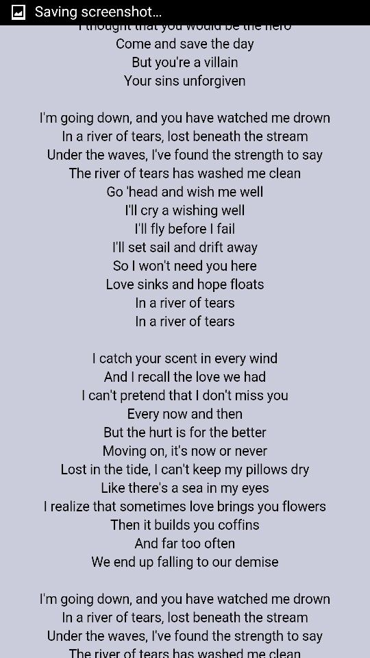 Lyric lyrics to down to the river : River of tears alessia cara pt2 | music | Pinterest | Songs