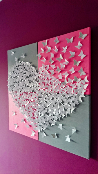 3d schmetterlingsherz bild auf leinwand fr hling butterfly origami and craft - Mobile leinwand selber bauen ...