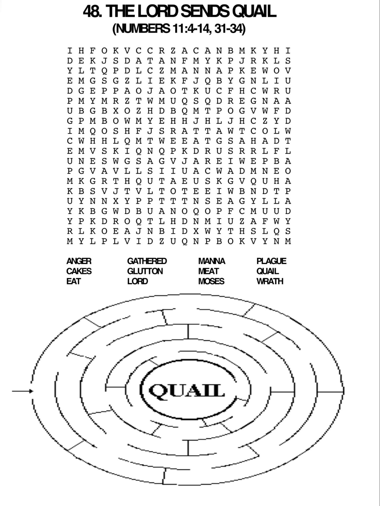 Quail Word Search And Maze Sunday School Kids Bible School