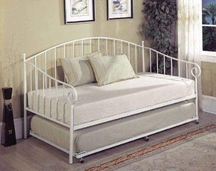 amazoncom kings brand white metal twin size day bed daybed frame