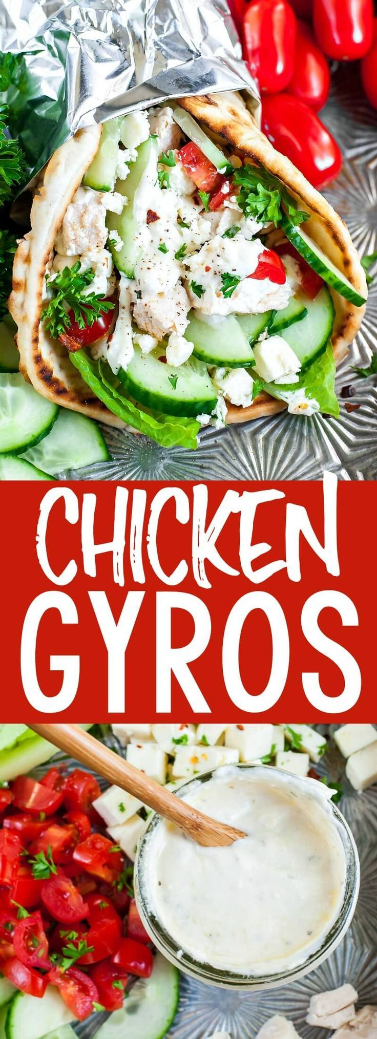 Easy Chicken Gyros with Greek Feta Sauce images