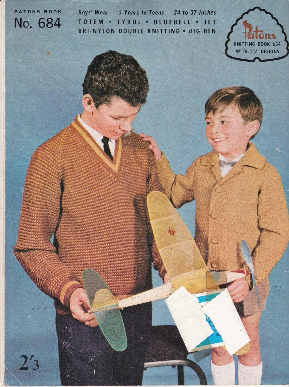 Paton\'s Knitting Pattern No 684 for Boys & от jennylouvintage ...