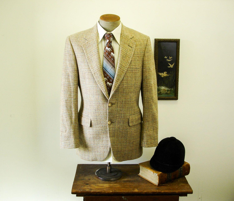S wool tweed suit jacket mens vintage tan brown u blue pure