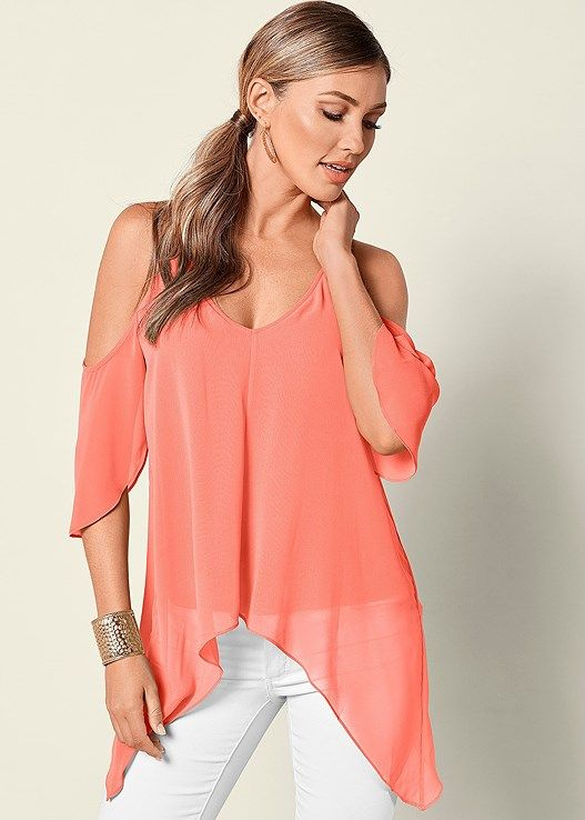 3f766d056d11fa Venus Women s Cold Shoulder Hanky Hem Top Tops - Pink
