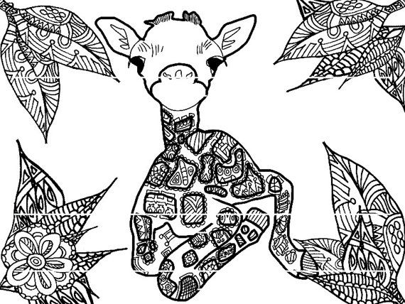 baby giraffe coloring page by strawberrycraft on etsy